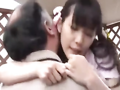 Mature Asian fucker nails a lustful Japanese schoolgirl