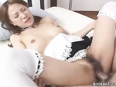 Innocent Asian lady is swallowing a cock in the close-up