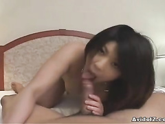 Tiny babe doing handjob, blowjob and smiling in cam