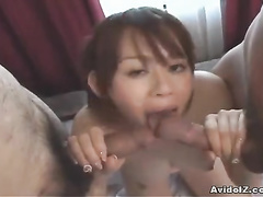 Filthy Asian babe tits fuck and hard oral job