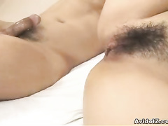 Ass and Asian pussy are swinging on the cock