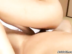 Man fucks Japanese and pinches her hard nipples