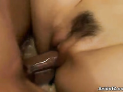 Shaved pussy lips are wrapping hard cock around
