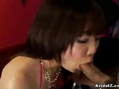 Naked girl in jewelry deep throats the hard cock