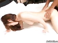 Asian pussy enjoys the stiff piston inside it