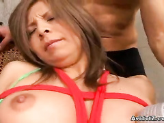 Lewd Asian girl convulses from three vibrators