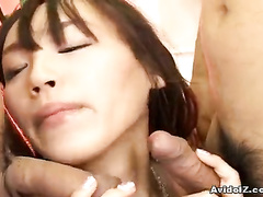 Sultry girl taking one cock after another in mouth