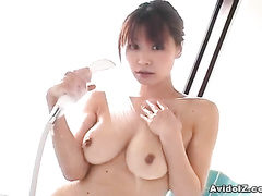 The turned on chick erotically foaming her body