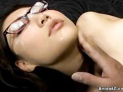 Four eyed Japanese girlie enjoys the lavish facial
