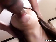 Dirty Asian girl is doing her best head job ever
