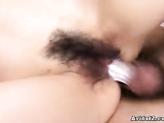 Big hard cock sticking out of the hairy pussy