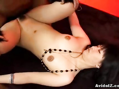 Girl in sexy fishnet stockings enjoys deep nub fuck