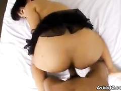 Missionary and doggy pose fucking for Asian slut