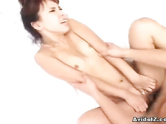 Japanese with trimmed pussy gets on the cock