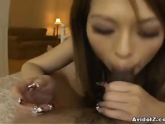 POV video featuring babe's Asian face all in cum
