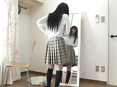 Japanese schoolgirl with shaved snatch is jumping on a dick