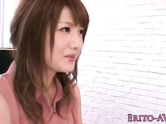 Asian babe with an innocent face is getting pounded