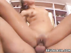 Asian girl gets her ass hole ruined by cock
