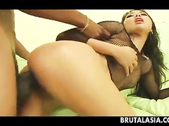 Asian girl takes the black monster into ass