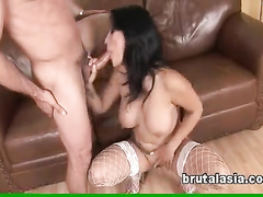 Bosomy girl in white fishnets merciless fucking