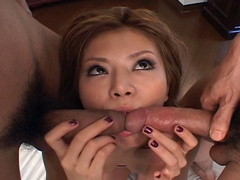 Playing with two dicks Asian girl gets sex fun