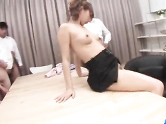 Lecherous Asian girl toyed and mouthfucked in a gangbang