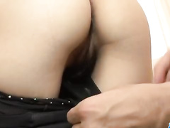 Sexy Asian girl beads hairy pussy on the cock