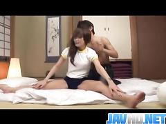 Horny Asian masturbation followed by the deep fuck