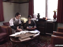 Asian office girl is having sex with her horny boss
