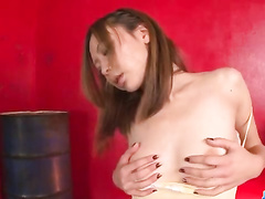 Brunette Japanese horniest blowjob, POV