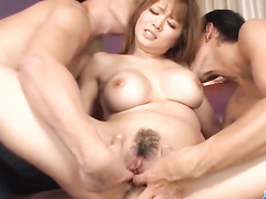 Guys touching Japanese boobs and moist pussy