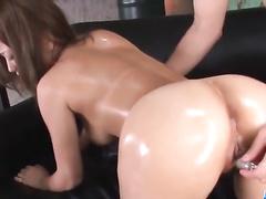 Fishnet stockings girl gets all covered in semen