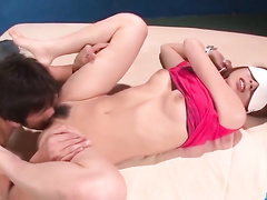 Blindfolded girl gets pussy bared off and licked