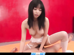 Asian bimbo in lingerie sucks and rides the dick