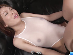 Working vibrator for the girl in sheer lingerie