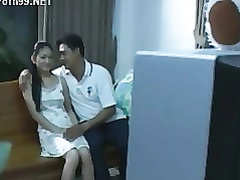 Hot Asian bitch with big tits is jumping on a dick