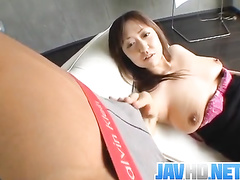 Busty Japanese milf stripped and fucked in mouth