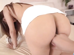 Small titted girl blows and rides cock, POV