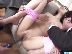 Asian pussy and ass are worked up with toys