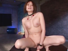 Charming cute Japanese chick is undressing at porn casting