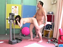 Asian chick is doing exercises and getting fucked by coach