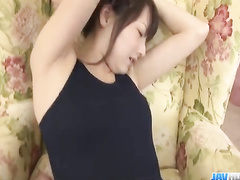 Naughty Japanese dude cuts girlfriend's bodysuit on boobies and pussy