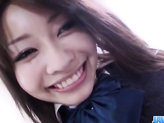 Teen Japanese brunette gets fondled and enjoys sucking dick