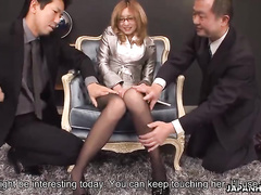 Two horny as hell fuckers are treating an awesome Asian bitch