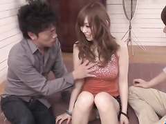 Asian sexy chick is getting fondled and excited by two fuckers