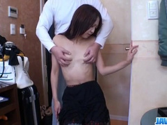 Rude Asian fucker fingers hot chick's pussy and fucks her hard
