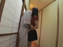 Hot Asian slut in black miniskirt is seducing her boyfriend