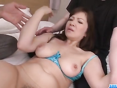 Asian milf chick hotly excites her fucker with tight blowjob