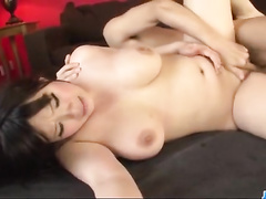 Yummy plump Japanese chick gets hotly fucked by two dudes