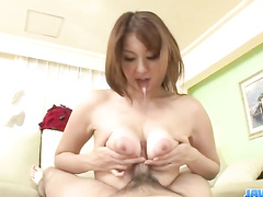Naughty young Asian chick pleases her fucker with titjob